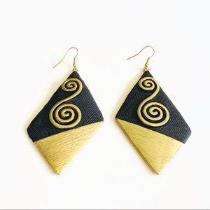 Funky gold & black diamond shaped earrings
